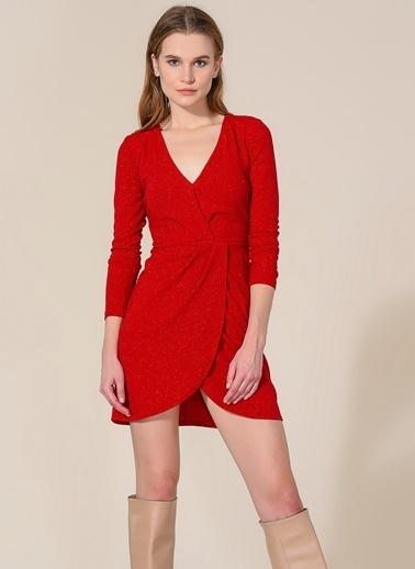 Agenda Kırmızı Simli Elbise Kırmızı